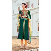 Pure Soft Cotton Satin Dress material,  green, standard