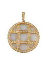 Lurie Jewellery Gold Pendant With Diamonds And Mother Of Pearl (LJP-12382)