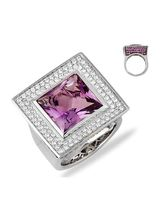 Lurie Jewellery Gold Plated Diamond And Amethyst Womens Ring (LJR-2X7), 16