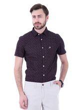 Roman Island Men's Printed Shirt Half Sleeves (89041671502A-G), xl, black