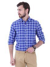 Roman Island Men's Checks Shirt Full Sleeves (89516600104A-H), xl, blue and white