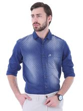Roman Island Men's Denim Printed Shirt Full Sleeves (890916101901B-B), l, blue