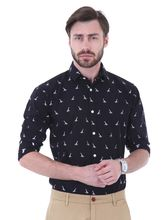 Roman Island Men's Printed Shirt Full Sleeves (89051660601A-CA), m, black