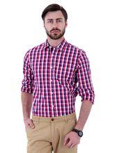 Roman Island Men's Checks Shirt Full Sleeves (890011671103BL-E), m, blue and red