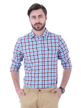 Roman Island Men's Checks Shirt Full Sleeves (89041671702C-I), xxl, blue and red