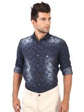 Roman Island Men's Printed Shirts (890916102701C-IO), l, blue