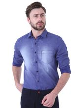 Roman Island Men's Printed Shirt Full Sleeves (89916102812A-CQ), s, blue