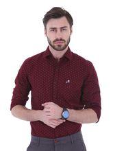 Roman Island Men's Printed Shirt Full Sleeves (890716101104A-JK), xxl, maroon