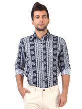 Roman Island Men's Printed Shirt Full Sleeves (89121610591A-BR), xl, black