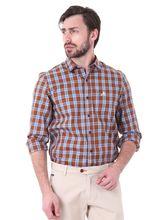 Roman Island Men's Checked Shirt Full Sleeves (890916102103B-FB), l, brown