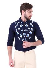 Roman Island Men's Printed Shirt Full Sleeves (89003167061-CF), m, blue