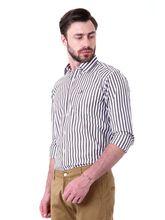 Roman Island Men's Lines Shirt Full Sleeves (89051650301A-DJ), m, brown