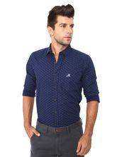 Roman Island Men's Printed Shirt Full Sleeves (89716101104E-BV), m, blue