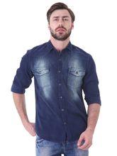 Roman Island Men's Printed Shirt Full Sleeves (890916102501A-BO), s, blue