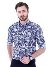 Roman Island Men's Printed Flowers Shirt Full Sleeves (89916103505AX-HC), xl, blue