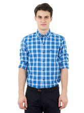 Roman Island Men's Checked Shirt Full Sleeves (890616100605C-EZ), xl, blue