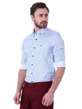 Roman Island Men's Printed Shirt Full Sleeves (890011710681A-EQ), s, blue