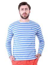 Roman Island Men's Lines T-Shirt Full Sleeves (890121640152UX-IA), xxl, blue