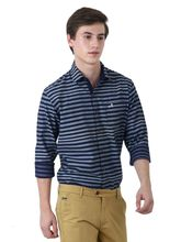 Roman Island Men's Printed Shirt Full Sleeves (890101610482C-GW), l, blue