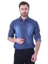 Roman Island Men's Printed Shirt Full Sleeves (89516100006A-CO), xxl, blue