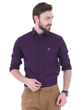 Roman Island Men's Printed Shirt Full Sleeves (890716101104F-BA), 3xl, violet