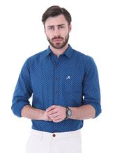 Roman Island Men's Printed Shirt Full Sleeves (890716101103A-M), xl, blue