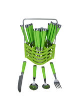 Avenue Stainless Steel Plain Design Cutlery Set (AACLERY015), green