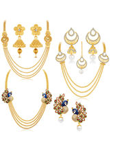 Sukkhi Gorgeous Peacock Gold Plated Set Of 3 Neckl...
