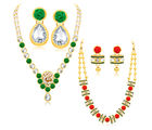 Sukkhi Divine Gold Plated AD Set of 2 Necklace Set Combo For Women (398CB1900)