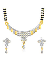 Sukkhi Vivacious Gold And Rhodium Plated CZ Mangalasutra Set For Women (14127MSCZF1850)