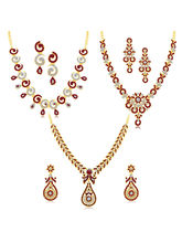 Sukkhi Glittery Gold Plated AD Set of 3 Necklace Set Combo For Women (291CB2250)