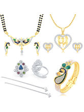 Sukkhi Artistically Peacock Gold Plated CZ Combo For Women Pack of 5