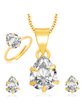 Sukkhi Brilliant Pecock Gold and Rhodium Plated CZ Pendant Set - Ring Combo For Women (280CB550)