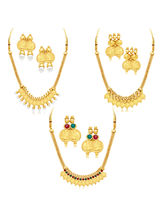 Sukkhi Exquitely Laxmi Coin Temple Gold Plated Set of 3 Necklace Set Combo For Women (290CB1650)