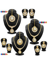 Sukkhi Fabulous Gold Plated AD Set of 3 Necklace Set with Set of 15 Changeable Stone Combo For Women (417CB4050)