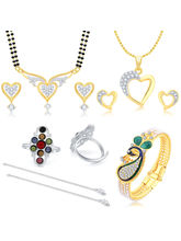 Sukkhi Graceful Peacock Gold Plated CZ Combo For Women Pack of 5