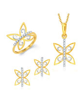 Sukkhi Butterfly Gold and Rhodium Plated CZ Pendant Set Ring Combo (259CB980), 13
