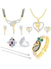 Sukkhi Glimmery Peacock Gold Plated CZ Combo For Women Pack of 5