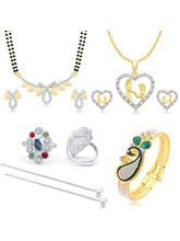 Sukkhi Pleasing Peacock Gold Plated CZ Combo For Women Pack of 5