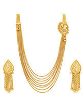 Sukkhi Delightly Eight String Chain Peacock Gold Plated Necklace Set For Women (2916NGLDPP2700)