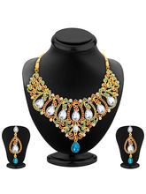 Sukkhi Pretty Gold Plated AD Necklace Set For Wome...