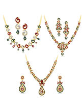 Sukkhi Fabulous Gold Plated AD Set of 3 Necklace Set Combo For Women (292CB2250)