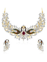 Sukkhi Dazzling Peacock Gold And Rhodium Plated CZ Neklace Set For Women (2642NCZG7700)
