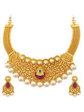 Sukkhi Eye-Catchy Gold Plated Kundan Necklace Set ...
