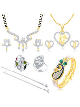 Sukkhi Sublime Peacock Gold Plated CZ Combo For Women Pack of 5