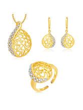 Sukkhi Artistic Gold And Rhodium Plated CZ Pendant Set For Women (4218PSCZMK900)