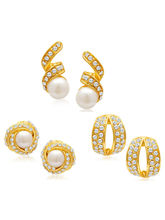 Sukkhi Divine Gold Plated Alloy Set of 3 Stud Earrings Combo (EarringCombo01)
