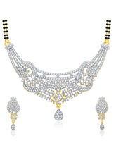 Sukkhi Memorable Gold And Rhodium Plated CZ Mangalasutra Set For Women (14174MSCZAK2400)