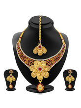 Sukkhi Trendy Gold Plated AD Necklace Set For Wome...