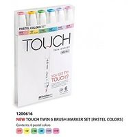 Shinhan Touch Twin Brush Marker Pastel Colours (Set of 6) (1200616)